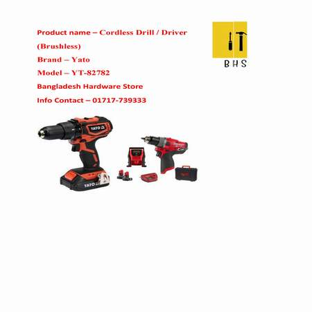 YT-82782 cordless drill / driver (brushless) in bd