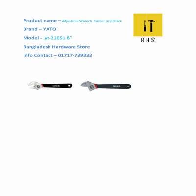 """yt-21651 8"""" adjustable wrench rubber grip black black in bd"""