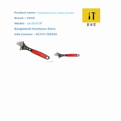 """yt-2171 8"""" adjustable wrench rubber grip red in bd"""