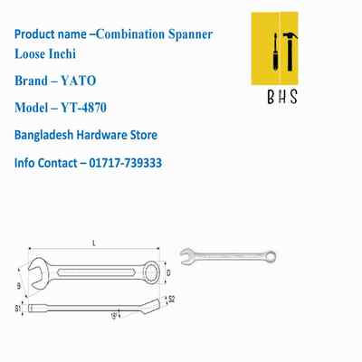 yt-4870 combination spanner loose inchi in bd