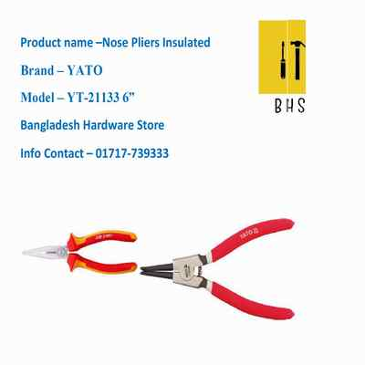 """6"""" yt-21133 nose pliers insulated in bd"""